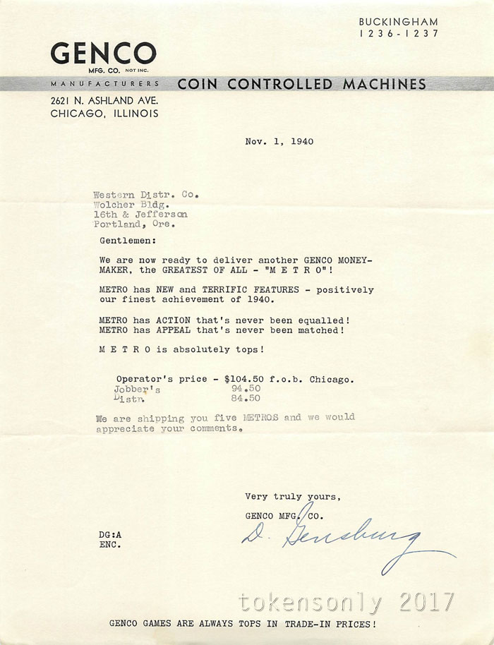 genco incorporated letter